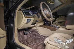 Audi A7 – пошив ковров из немецкой экокожи темно-шоколадного цвета