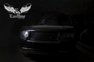 Range Rover – комплексная перетяжка потолка. Пошив индивидуального комплекта ковров из экокожи.