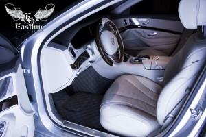 Mercedes-Benz S500 W222 Люксовый комплект ковров из экокожи (Кожаный пол + комплект ковров)