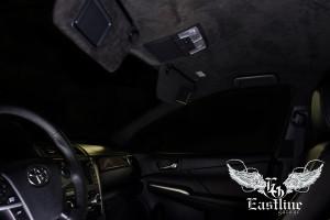 Toyota Camry - Перетяжка потолка в итальянскую алькантару цвета антрацит