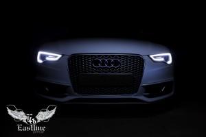 Audi A5 - перетяжка потолка итальянской алькантарой цвета антрацит
