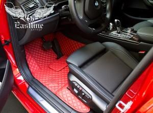 BMW X4 – пошив люксового комплекта ковров из немецкой экокожи красного цвета