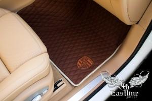 Porsche Macan - ковры в салон из экокожи с вышивкой