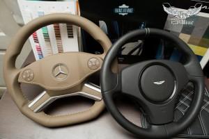 Mercedes-Benz GL изменение анатомии рулевого колеса, установка подогрева и последующий перешив в натуральную кожу.