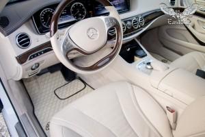 Mercedes-Maybach S-Класс пошив эксклюзивного комплекта ковриков из экокожи