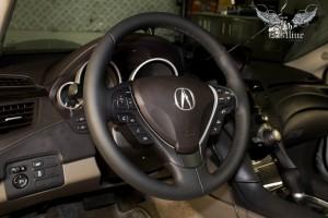 Acura ZDX перетяжка руля и ручки КПП в натуральную кожу и аквапринт салонного пластика