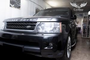 Land Rover Range Rover Sport перетяжка потолка в алькантару цвета антрацит и пошив ручек в экокожу