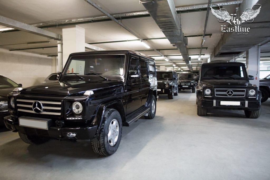 Mercedes-Benz G-class - полная реставрация автомобиля. Перетяжка сидений, перетяжка дверных карт, торпедо и руля. Новый потолоки комплект ковриков из немецкой экокожи.